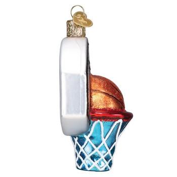 Basketball Hoop Glass Ornament side