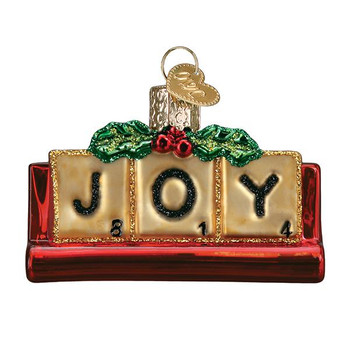 Joyful Scrabble Glass Ornament