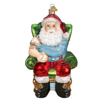 Santa Vaccinated Glass Ornament