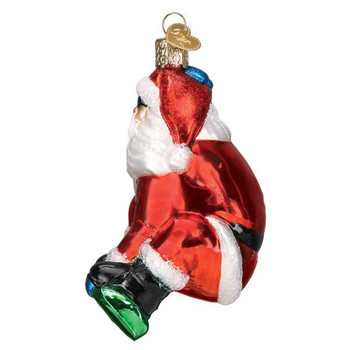 Snowboarding Santa Glass Ornament side