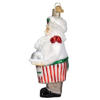 Chef Santa Glass Ornament side