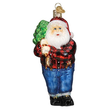 Lumberjack Santa Glass Ornament