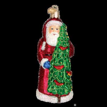 Santa with Calling Birds Glass Ornament