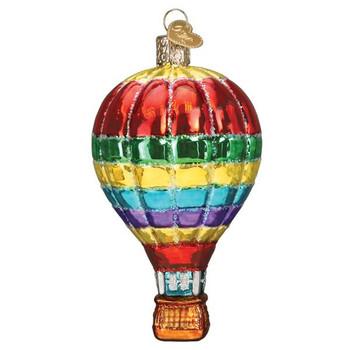 Hot Air Balloon Vibrant Glass Ornament