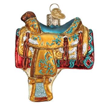 Western Saddle Glass Ornament