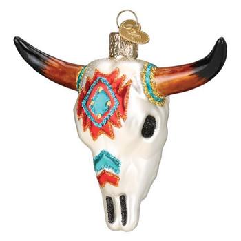 SW Steer Skull Glass Ornament