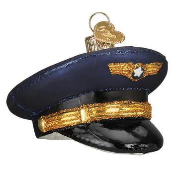 Pilot'S Cap Glass Ornament