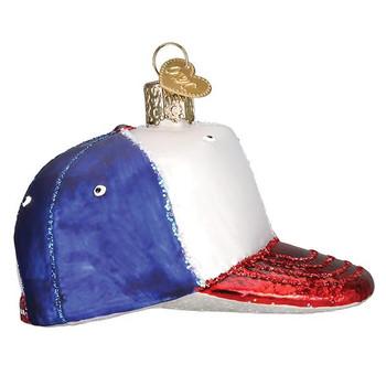 Baseball Cap Glass Ornament