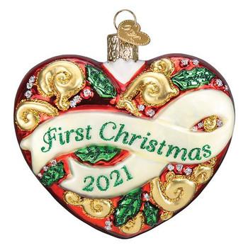 2021 1st Christmas Heart Glass Ornament
