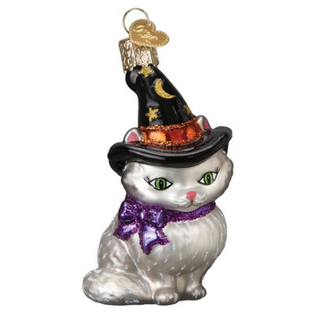 Witch Kitten Glass Ornament