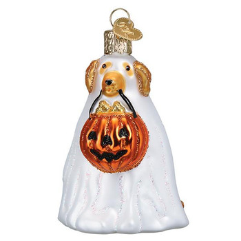 Trick-Or-Treat Pooch Glass Ornament