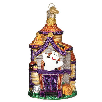 Haunted House Glass Ornament