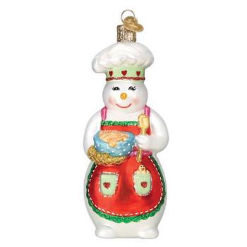 Snow Woman Chef Glass Ornament