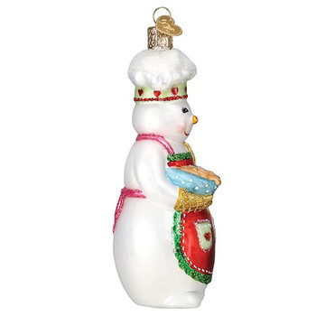 Snow Woman Chef Glass Ornament side
