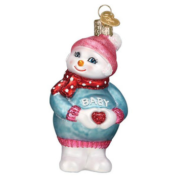 Expectant Snow lady Glass Ornament