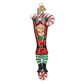 Playful Elf Glass Ornament