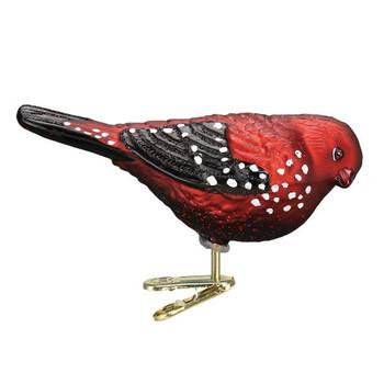 Strawberry Finch Glass Ornament