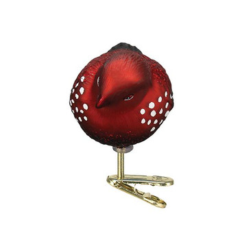Strawberry Finch Glass Ornament front