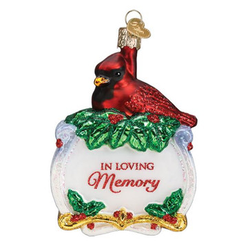 Memorial Cardinal Glass Ornament