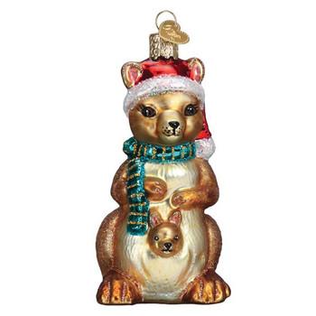 Christmas Kangaroo Glass Ornament