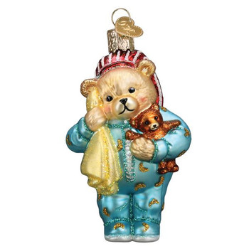 Bedtime Teddy Bear Glass Ornament