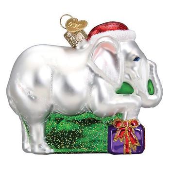 White Elephant Glass Ornament