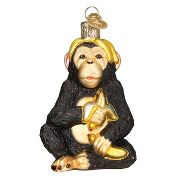 Chimpanzee Glass Ornament