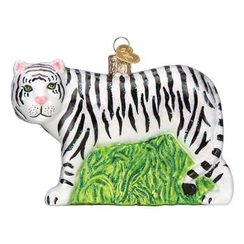 White Tiger Glass Ornament