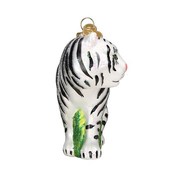White Tiger Glass Ornament front