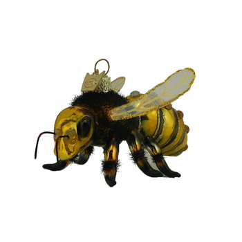 Large Wings Honey Bee Glass Ornament front left side