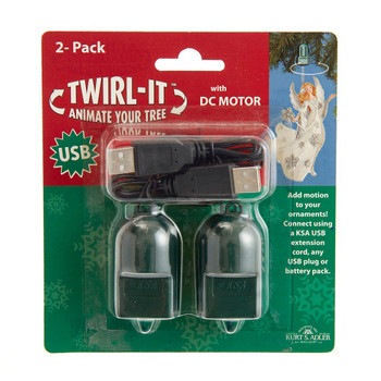 USB Single Ornament Turner, Spinner Twirl It with DC Electric Cord 2 Pack