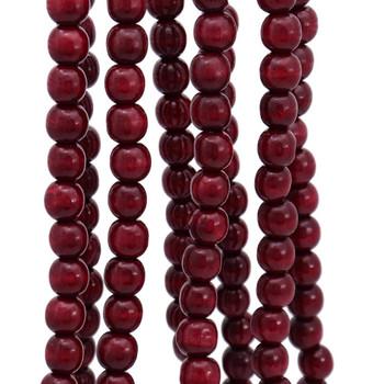 Wood Cranberry Burgundy Bead Garland close up