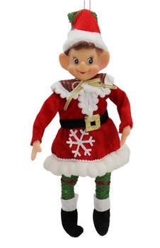 Boy or Girl Wired Elf Doll Ornament - Shelf Sitter Girl Front