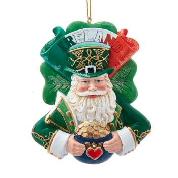 Pot of Gold Ireland Santa Ornament