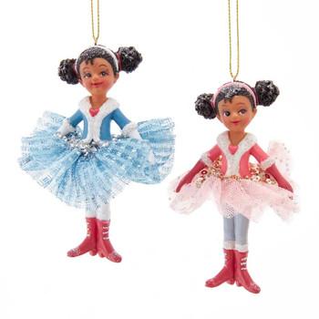 2 pc Black Little Dancer - Ballerina in Tutu Ornaments SET