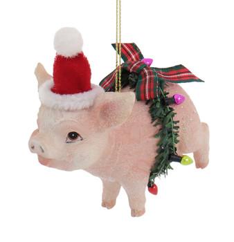 Santa Hat Farm Animal Pig Ornament