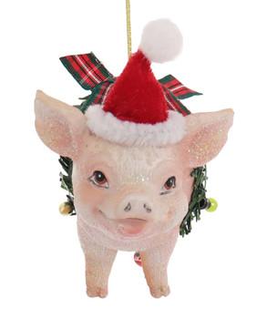 Santa Hat Farm Animal Pig Ornament Front