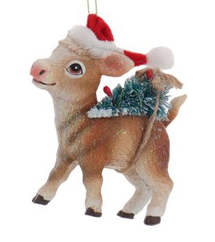 Santa Hat Farm Animal Cow Ornament
