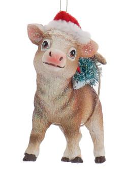 Santa Hat Farm Animal Cow Ornament Front