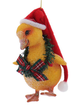 Santa Hat Farm Animal Baby Chick Ornament Front