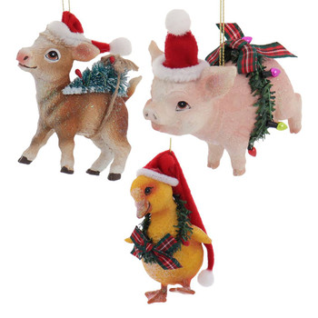 3 pc Sparkly Holiday Farm Animals Ornament SET