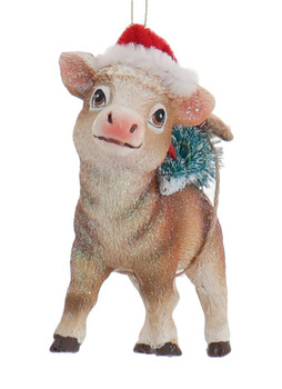 3 pc Sparkly Holiday Farm Animals Ornament SET cow front