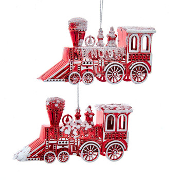2 pc Red and White Locomotive Plastic Ornaments SET