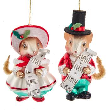 2 pc Music Sheet Choir or Caroling Mouse Glass Ornaments SET