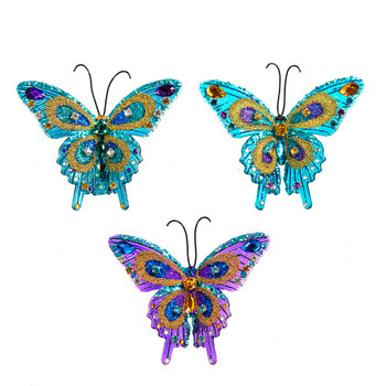 3 pc Translucent Glittered and Beaded Clip On Butterfly Ornaments SET