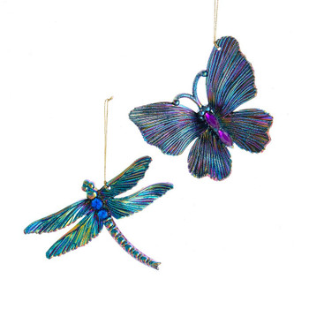 2 pc Peacock Colors Dragonfly - Butterfly Ornaments SET