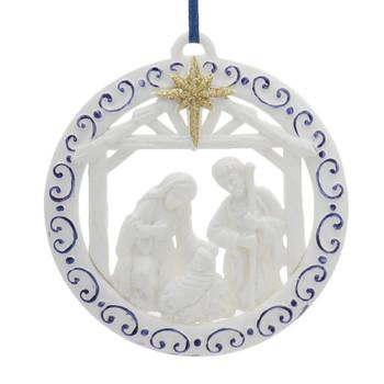 White and Blue Round Nativity Ornament