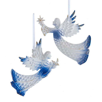 2 pc Diamond Cut White and Blue Angel Ornaments SET