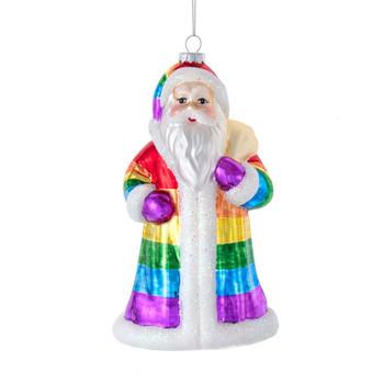 Rainbow Colors Santa Glass Ornament