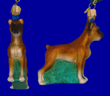 Boxer Old World Christmas Glass Ornament 12304 inset